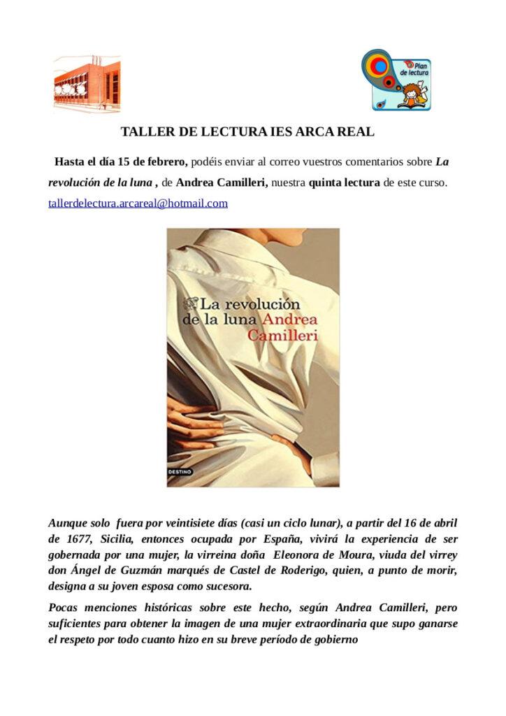 """Cartel para el taller de lectura del IES Arca Real, febrero de 2021. """"La revolución de la luna"""""""