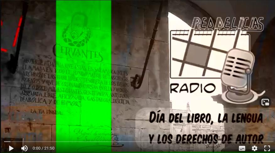 Foto de escrito de Cervantes sobre pared de piedra en Salamanca, co el lema del día y el logo de red delicias