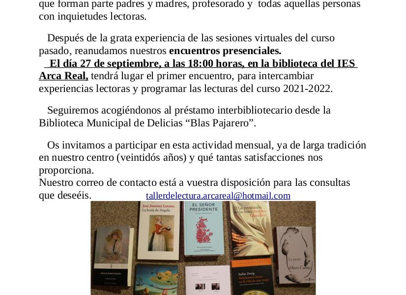 Cartel con el texto e imágenes de portadas de libros